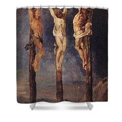 The Three Crosses Shower Curtain by Peter Paul Rubens