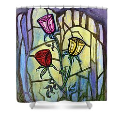 The Three Roses Shower Curtain by Terry Webb Harshman