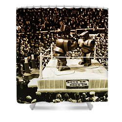 The Thrilla In Toyvilla Shower Curtain by Bill Cannon
