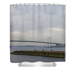 Shower Curtain featuring the photograph The Throgs Neck Bridge by John Telfer