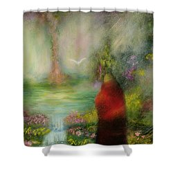 The Tibetan Monk Shower Curtain by Hannibal Mane