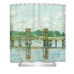 The Toll Bridge New Hampshire Shower Curtain by Childe Hassam