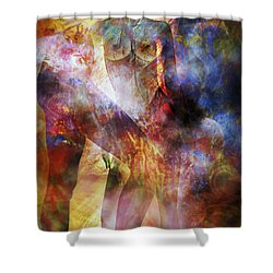 Shower Curtain featuring the mixed media The Touch by Ally  White