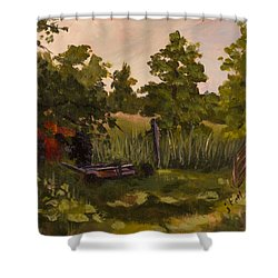 The Tractor By The Gate Shower Curtain by Janet Felts