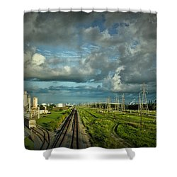 The Train Yard Shower Curtain by Linda Unger