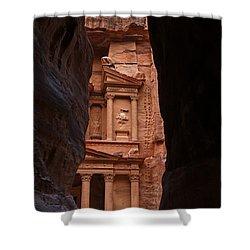 The Treasury Seen From The Siq Petra Jordan Shower Curtain by Robert Preston