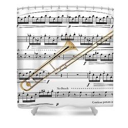 The Trombone Shower Curtain