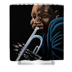 Shower Curtain featuring the painting The Trumpeter by Barbara McMahon