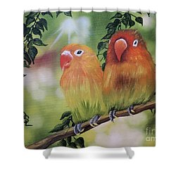The Tweetest Love Shower Curtain by Dianna Lewis