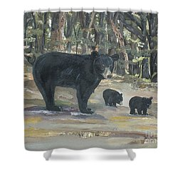 Shower Curtain featuring the painting Cubs - Bears - Goldilocks And The Three Bears by Jan Dappen