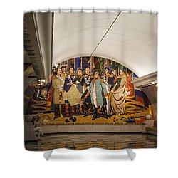 The Underground 2 - Victory Park Metro - Moscow Shower Curtain by Madeline Ellis