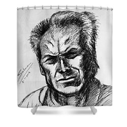 Shower Curtain featuring the painting Clint Eastwood by Salman Ravish