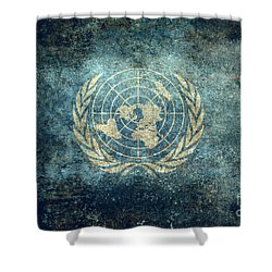 The United Nations Flag  Vintage Version Shower Curtain