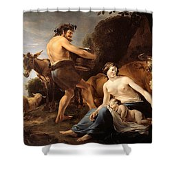 The Upbringing Of Zeus Shower Curtain by Nicolaes Pietersz Berchem