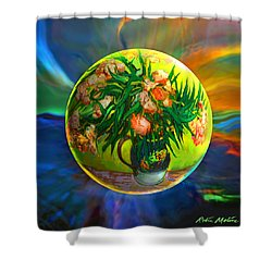 Shower Curtain featuring the painting The Van Gloughing Vase by Robin Moline