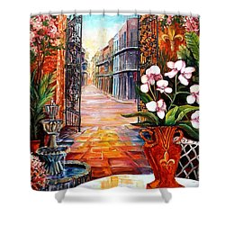 The View From A Courtyard Shower Curtain by Diane Millsap