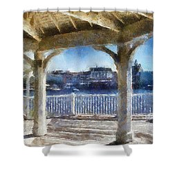 The View From The Boardwalk Gazebo Wdw 02 Photo Art Shower Curtain
