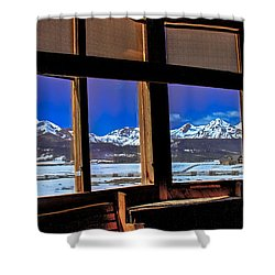 The View From The Sawtooth Valley Meditation Chapel Shower Curtain by Robert Bales