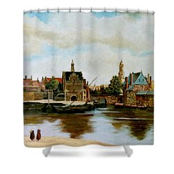 Shower Curtain featuring the painting The View Of Delft by Henryk Gorecki