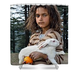 The Village Girl Shower Curtain by Fotosas Photography