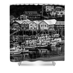 The Village Pier Shower Curtain by Melinda Ledsome