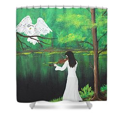 The Violinist By The River   Shower Curtain by Patricia Olson