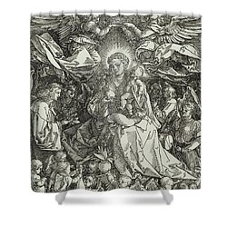 The Virgin And Child Surrounded By Angels Shower Curtain by Albrecht Durer or Duerer