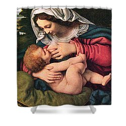 The Virgin And The Green Cushion Shower Curtain by Munir Alawi