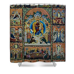 The Virgin Mary With Angels Shower Curtain by Claud Religious Art