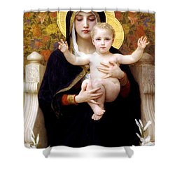 The Virgin Of The Lilies Shower Curtain by William Bouguereau