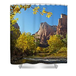 The Virgin River And The Court Of The Patriarchs Shower Curtain by Alex Cassels