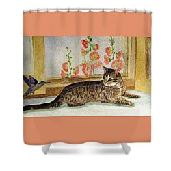 Shower Curtain featuring the painting The Visitor by Angela Davies