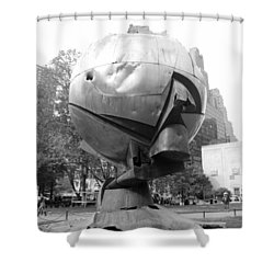 The  W T C Plaza Fountain In Black And White Shower Curtain by Rob Hans