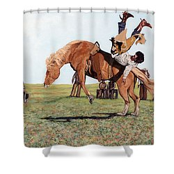 The Waiting Line Shower Curtain by Tom Roderick