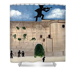 Shower Curtain featuring the painting The  Western Wall And Fiddler On The Roof by Nora Shepley
