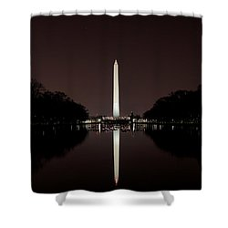 The Washington Monument - Reflections At Night Shower Curtain