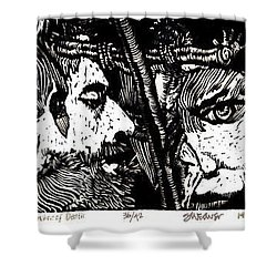 Shower Curtain featuring the relief The Watchers Of Death by Seth Weaver