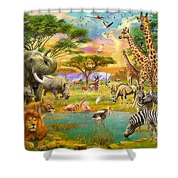 The Watering Hole Shower Curtain by Jan Patrik Krasny