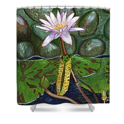 The Waterlily Shower Curtain by Laura Forde