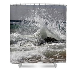 The Wave And The Rock Shower Curtain by Jennifer Kathleen Phillips