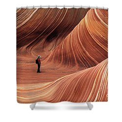 The Wave Seeking Enlightenment Shower Curtain by Bob Christopher