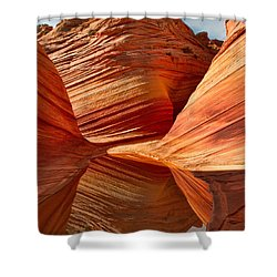 The Wave With Reflection Shower Curtain by Jerry Fornarotto