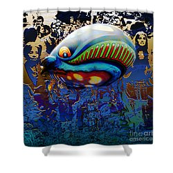 Shower Curtain featuring the digital art The Whale Flight by Rosa Cobos
