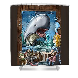Shower Curtain featuring the painting The Whale by Reynold Jay