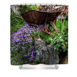 Shower Curtain featuring the photograph The Whimsical Wheelbarrow by Thom Zehrfeld