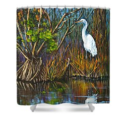 The White Heron Shower Curtain by Dianne Parks