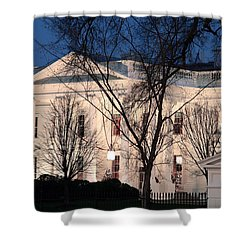 Shower Curtain featuring the photograph The White House At Dusk by Cora Wandel