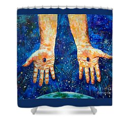 The Whole World In His Hands Shower Curtain