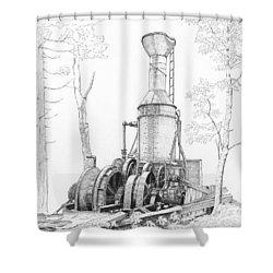 The Willamette Steam Donkey Shower Curtain