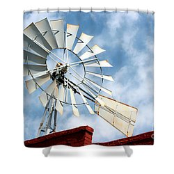 The Wind Wheel Shower Curtain by Kathy  White